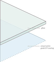 diagram of coating layers on conservation clear glass