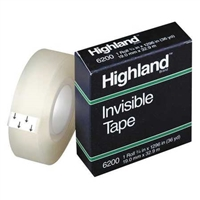 "3M Highland Invisible Mending Tape</br> 3/4"" x 36 Yards <BR> 1"" Core"