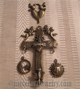 Rosary Set with Yalalag Crucifix, Mexican with Sun Moon and Angels & Two Doves Center Rosary Parts Set