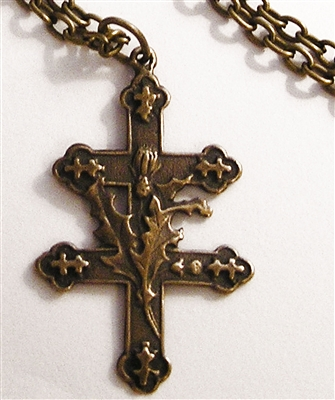 Cross of Lorraine with Thistle Chain Necklace