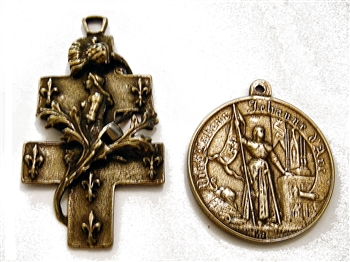 Big Joan of Arc Rosary Parts - Vintage and antique rosary components in sterling silver and bronze, for your rosary beads and faith jewelry. Create magnificent rosaries, your favorite chaplets, key chains, and Catholic gifts such as rosary necklaces, brac