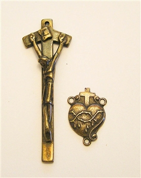 Gothic Precious Heart Rosary Parts - Vintage and antique rosary components in sterling silver and bronze, for your rosary beads and faith jewelry. Create magnificent rosaries, your favorite chaplets, key chains, and Catholic gifts such as rosary necklaces