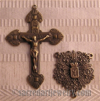 Saint Michael Rosary Parts- Vintage and antique rosary components in sterling silver and bronze, for your rosary beads and faith jewelry. Create magnificent rosaries, your favorite chaplets, key chains, and Catholic gifts.
