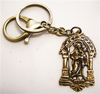 St Joseph - Catholic keychain with vintage bronze medallion, brass key ring and lobster clasp. Collection of religious key chains with handmade medals and Christian cross for men and women.