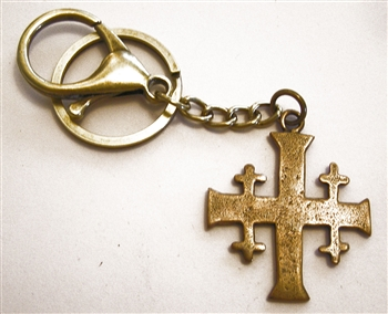 Jerusalem Cross Key Chain - Catholic keychain with vintage bronze medallion, brass key ring and lobster clasp. Collection of religious key chains with handmade medals and Christian cross for men and women.