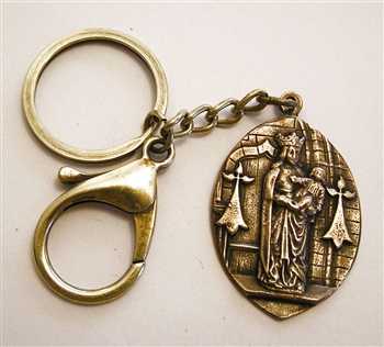 Blessed Mother Key Chain - Catholic keychain with vintage bronze medallion, brass key ring and lobster clasp. Collection of religious key chains with handmade medals and Christian cross for men and women.