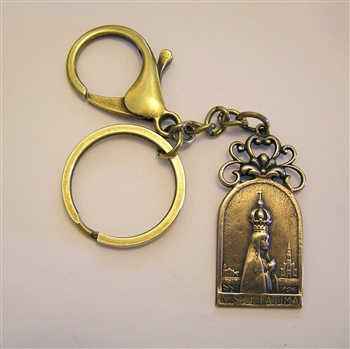 Fatima Key Chain - Catholic keychain with vintage bronze medallion, brass key ring and lobster clasp. Collection of religious key chains with handmade medals and Christian cross for men and women.