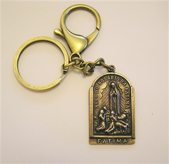 Fatima & St Christopher Key Chain - Catholic keychain with vintage bronze medallion, brass key ring and lobster clasp. Collection of religious key chains with handmade medals and Christian cross for men and women.