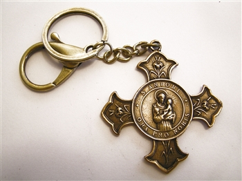 St Anthony Key Chain - Catholic keychain with vintage bronze medallion, brass key ring and lobster clasp. Collection of religious key chains with handmade medals and Christian cross for men and women.