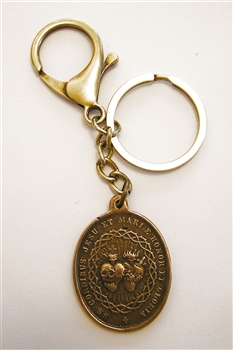 Twin Hearts Monstrance Key Chain - Catholic keychain with vintage bronze medallion, brass key ring and lobster clasp. Collection of religious key chains with handmade medals and Christian cross for men and women.