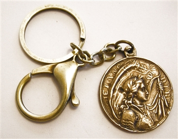 Joan of Arc Key Chain - Catholic keychain with vintage bronze medallion, brass key ring and lobster clasp. Collection of religious key chains with handmade medals and Christian cross for men and women.