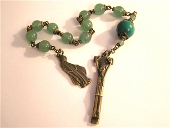 Pocket Handmade Rosary Gothic Chaplet in Green Aventurine Gemstones ~ One Decade Catholic Tenner ~ Bronze Travel Rosaries