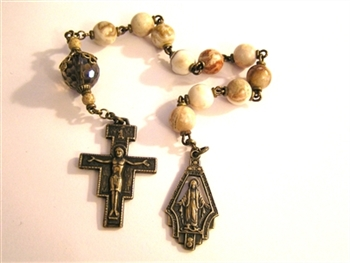 San Damiano Pocket Rosary Chaplet in Bronze