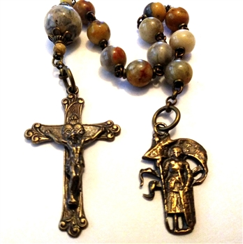 Joan of Arc Pocket Rosary Chaplet in Bronze