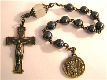 Pocket Handmade Elegant Vines Chaplet in Hematite Gemstones ~ One Decade Catholic Tenner ~ Bronze Travel Rosaries