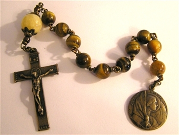 Joan of Arc Pocket Rosary Tenner Chaplet in Bronze