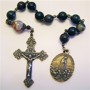 Fatima World Peace Pocket Rosary Chaplet in Bronze