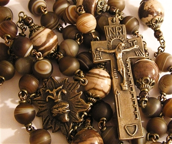 Rosary, Handmade in Bronze, Irish Penal & Flaming Heart, Matte Brown Laced Agate & Zebra Jasper