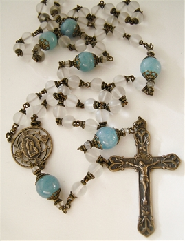 Our Lady of Guadalupe Rosary - A white and blue handmade rosary, with the colors of Our Lady's garments, in elegant white matte rock crystal 8 mm Ave Beads, with larger aquamarine gemstone beads used as Paters with antique and vintage rosary parts.