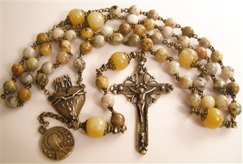 Handmade Rosary, Latin America Hand Forged Crucifix, and Flaming Heart in True Bronze, Crazy Lace Agate, Topaz
