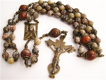 Southwestern Handmade Rosary in Bronze with Gemstone Beads