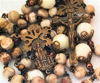 Our Lady of Fatima Handmade Rosary in Bronze with Agate Gemstone Beads and Mother of Pearl