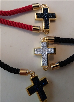 "Mini Cross on 10"" Adjustable Rope Bracelet"
