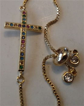 "Thin Rainbow Cross on 10"" Adjustable Cross Chain Bracelet"