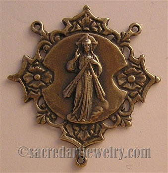 "Divine Mercy Rosary Center 1 1/2"" - Catholic religious rosary parts in authentic antique and vintage styles with amazing detail. Huge collection of crucifixes, rosary centers, and heirloom saint and holy medals handmade in sterling silver and bronze."