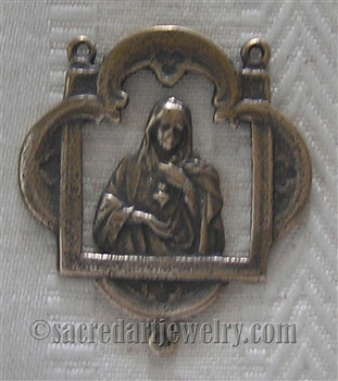 "Immaculate Heart Rosary Center 1 1/2"" - Catholic religious rosary parts in authentic antique and vintage styles with amazing detail. Huge collection of crucifixes, rosary centers, and heirloom saint and holy medals handmade in sterling silver and bronze."
