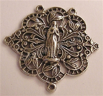 "Filigree Rosary Center 1 1/4"" - Catholic religious rosary parts in authentic antique and vintage styles with amazing detail. Huge collection of crucifixes, rosary centers, and heirloom saint and holy medals handmade in sterling silver and bronze."
