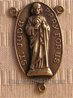 "Saint Jude Rosary Center 1 1/4""  - Catholic religious rosary parts in authentic antique and vintage styles with amazing detail. Huge collection of crucifixes, rosary centers, and heirloom saint and holy medals handmade in sterling silver and bronze."