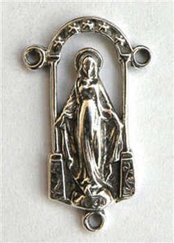 "Miraculous Mary Rosary Center 3/4"" - Catholic religious rosary parts in authentic antique and vintage styles with amazing detail. Huge collection of crucifixes, rosary centers, and heirloom saint and holy medals handmade in sterling silver and bronze."