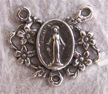"Tiny Miraculous Medal Rosary Center 1/2"" - Catholic religious rosary parts in authentic antique and vintage styles with amazing detail. Huge collection of crucifixes, rosary centers, and heirloom saint and holy medals handmade in sterling silver and bronz"