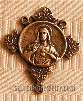 "Sacred Heart Rosary Center 1 1/8"" - Catholic religious rosary parts in authentic antique and vintage styles with amazing detail. Huge collection of crucifixes, rosary centers, and heirloom saint and holy medals handmade in sterling silver and bronze."