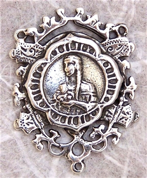 "Saint Catherine Tekakwitha Rosary Center 1 1/4"" - Catholic religious rosary parts in authentic antique and vintage styles with amazing detail. Huge collection of crucifixes, rosary centers, and heirloom saint and holy medals in sterling silver and bronze."