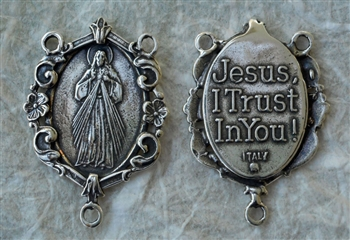 "Divine Mercy Rosary Center 1 1/4"" - Catholic religious rosary parts in authentic antique and vintage styles with amazing detail. Huge collection of crucifixes, rosary centers, and heirloom saint and holy medals handmade in sterling silver and bronze."