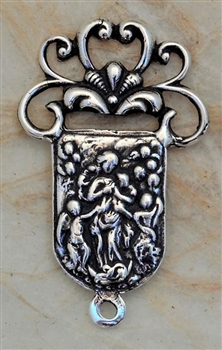 "Mary, Undoer, Untier of Knots Center 1 1/4"" - Catholic religious rosary parts in authentic antique and vintage styles with amazing detail. Huge collection of crucifixes, rosary centers, and heirloom saint and holy medals handmade in sterling silver and b"