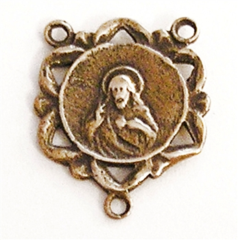 "Sacred Heart Rosary Center 5/8"" - Catholic religious rosary parts in authentic antique and vintage styles with amazing detail. Big collection of crucifixes, centerpieces, and heirloom medals handmade in sterling silver and true bronze."