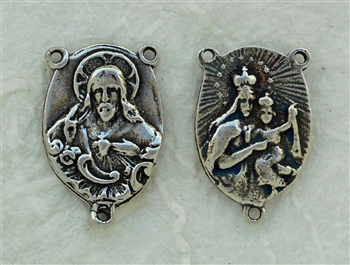 "Jesus and Mary Rosary Center 3/4"" - Catholic religious rosary parts in authentic antique and vintage styles with amazing detail. Big collection of crucifixes, centerpieces, and heirloom medals handmade in sterling silver and true bronze."