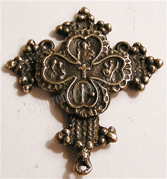 "Coptic Rosary Center 1 3/8"" ​- Catholic rosary parts in authentic antique and vintage styles with amazing detail. Large collection of heirloom rosary centerpieces, crosses, crucifixes and medals made by hand in  true bronze and sterling silver."