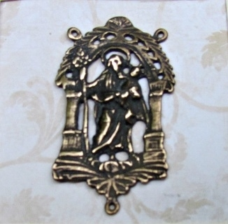 "Large St Joseph Rosary Center 1 7/8"" ​- Catholic rosary parts in authentic antique and vintage styles with amazing detail. Large collection of heirloom rosary centerpieces, crosses, crucifixes and medals made by hand in  true bronze and sterling silver."
