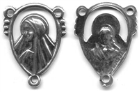 "Jesus Mary Rosary Center 7/8"" - Catholic religious rosary parts in authentic antique and vintage styles with amazing detail. Big collection of crucifixes, centerpieces, and heirloom medals handmade in sterling silver and true bronze."