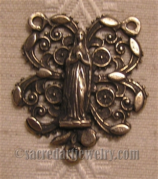 "Filigree Rosary Center 1"" - Catholic religious rosary parts in authentic antique and vintage styles with amazing detail. Big collection of crucifixes, centerpieces, and heirloom medals handmade in sterling silver and true bronze."