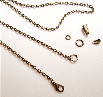 Custom Size Flat Cross Chain Necklace - Antique Bronze Chain - You will find the bronze chain length you are looking for in our collection of antique bronze necklace chains, available in custom sizes at Sacred Art Jewelry.