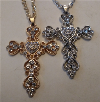 "Heart Cross with Rhinestones in Shiny Silver or Golden 2 1/2"" With 27"" Cross Chain - Catholic cross pendants and crucifixes in authentic antique and vintage styles with amazing detail. Large collection of crucifixes, centerpieces, and heirloom medals made"