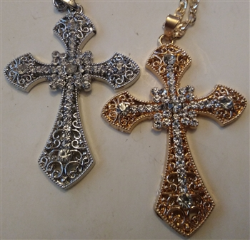 "Squared Cross with Rhinestones in Shiny Silver or Golden 3 1/4"" With 27"" Cross Chain - Catholic cross pendants and crucifixes in authentic antique and vintage styles with amazing detail. Large collection of crucifixes, centerpieces, and"