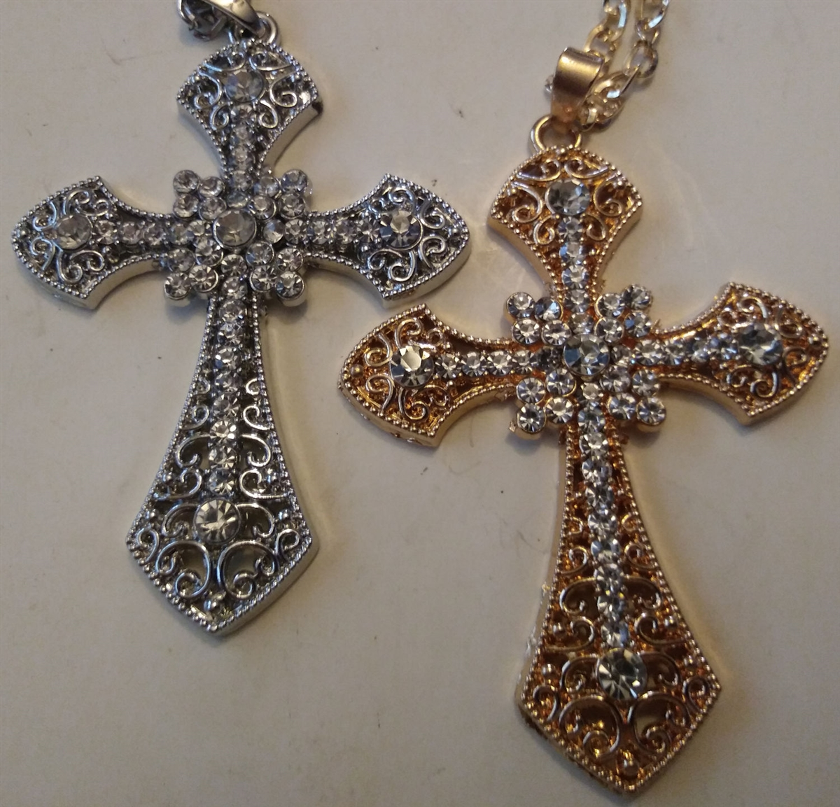 Cross With Rhinestones In Shiny Silver