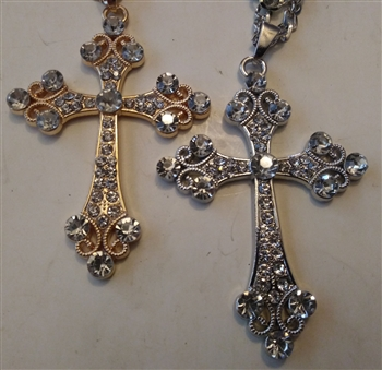 "Trinity Cross with Rhinestones in Shiny Silver or Golden 2 1/2"" With 27"" Cross Chain - Catholic cross pendants and crucifixes in authentic antique and vintage styles with amazing detail. Large collection of crucifixes, centerpieces, and heirloom medals ma"