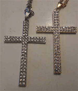 "Double Row Cross with Rhinestones in Shiny Silver or Golden 3"" With 27"" Cross Chain - Catholic cross pendants and crucifixes in authentic antique and vintage styles with amazing detail. Large collection of crucifixes, centerpieces, and heirloom medals"